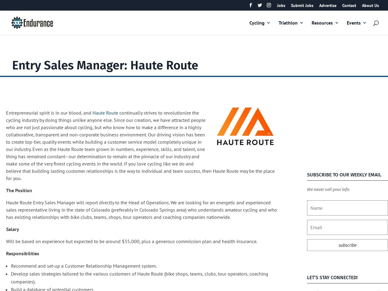 Entry Sales Manager: Haute Route
