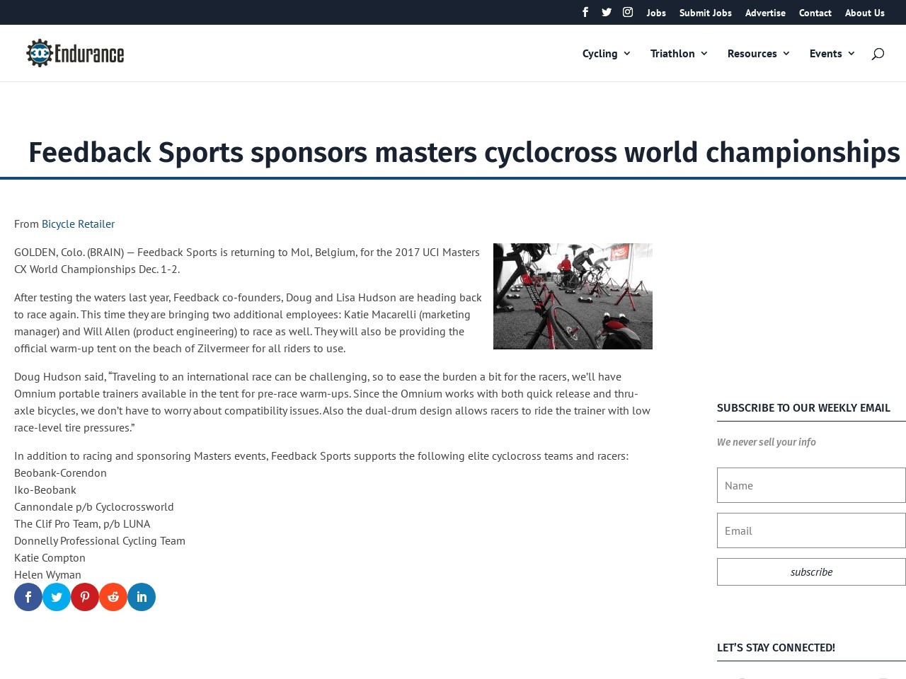 Feedback Sports sponsors masters cyclocross world championships