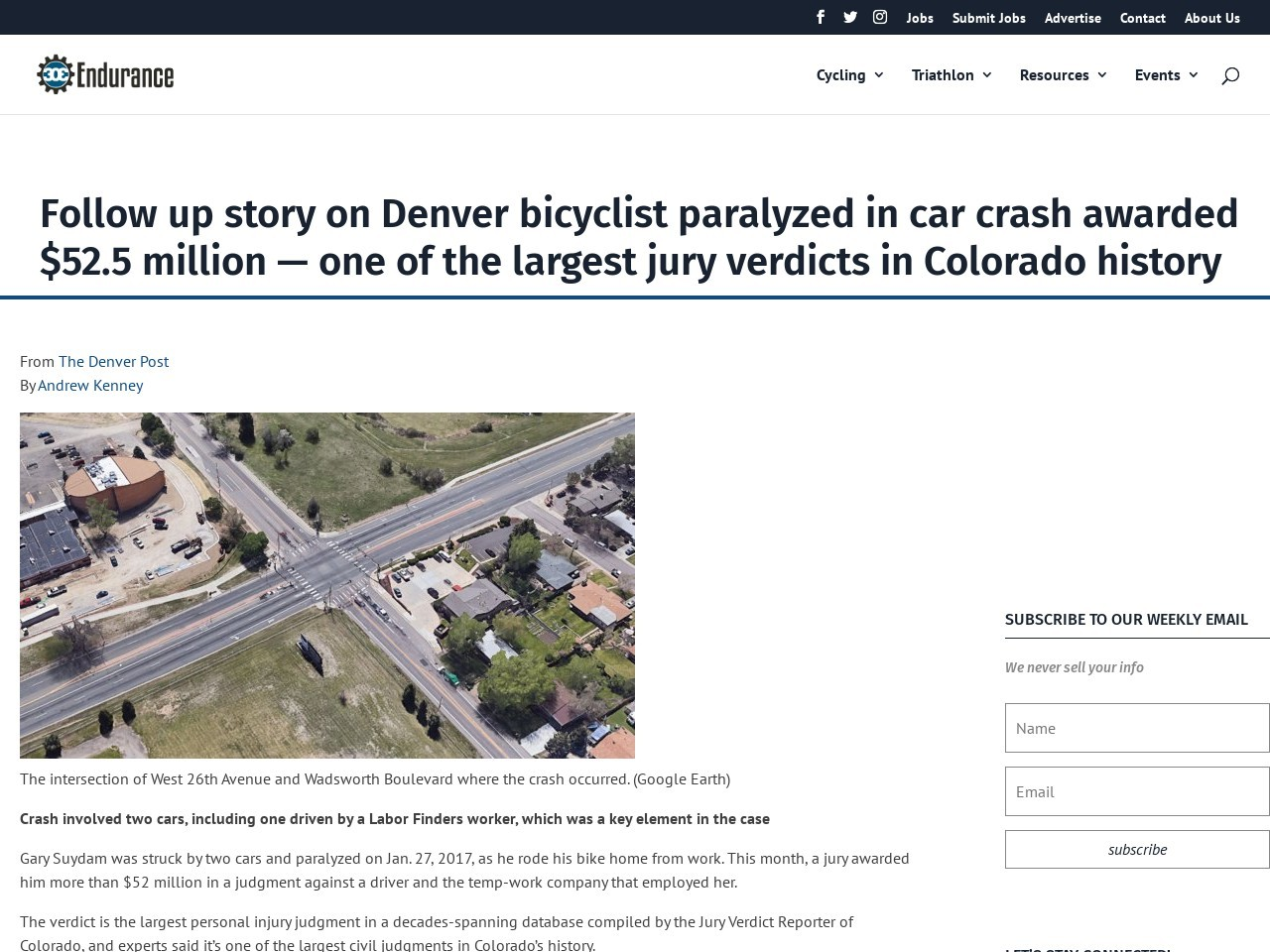 Follow up story on Denver bicyclist paralyzed in car crash awarded $52.5 million — one of the largest jury verdicts in Colorado history