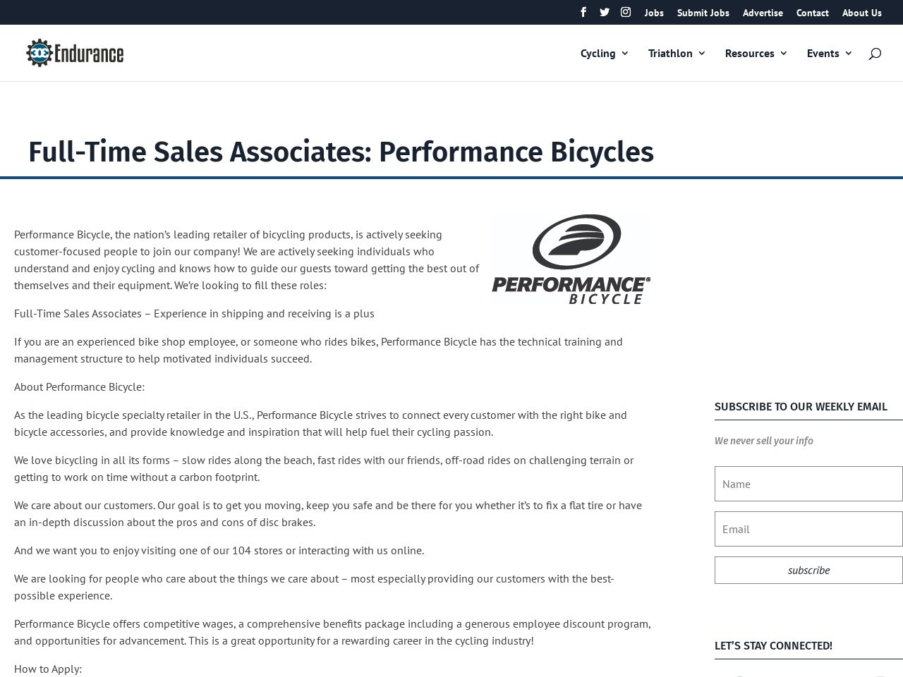 Full-Time Sales Associates: Performance Bicycles