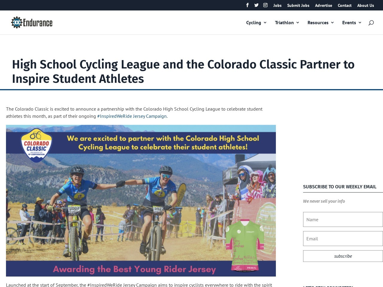 High School Cycling League and the Colorado Classic Partner to Inspire Student Athletes