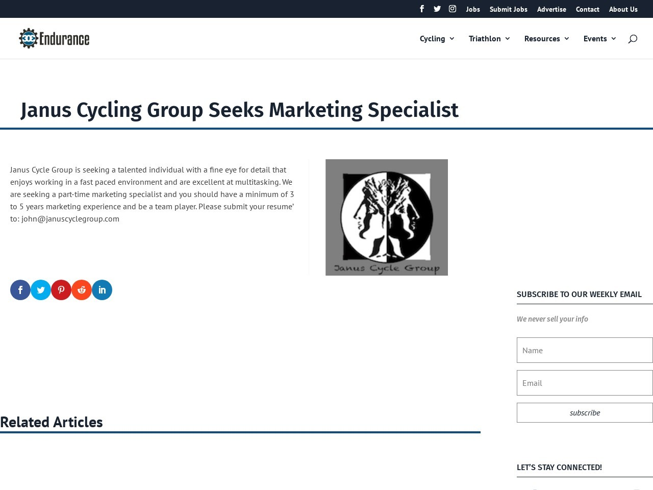 Janus Cycling Group Seeks Marketing Specialist