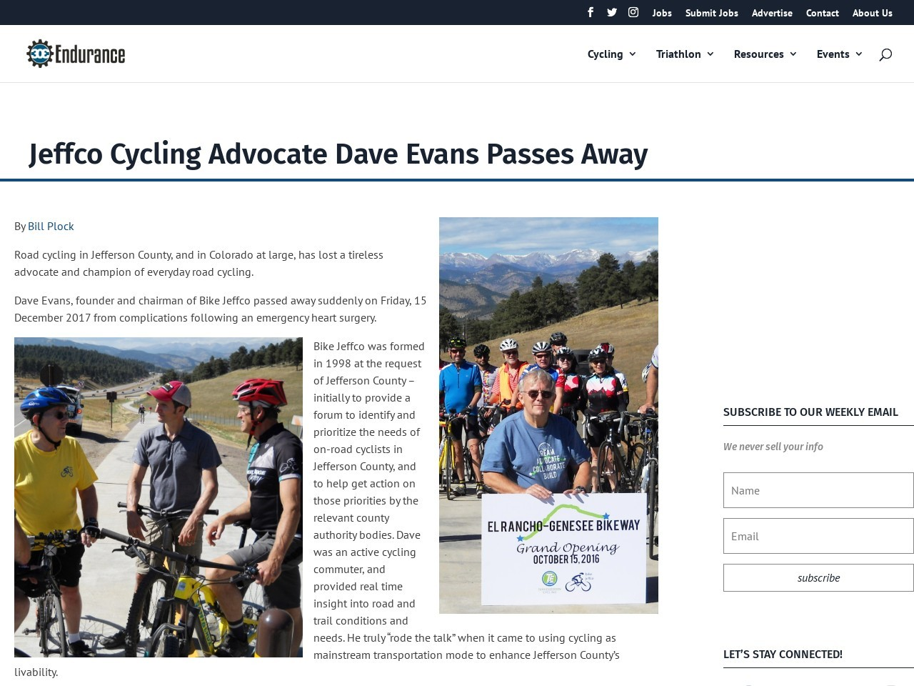 Jeffco Cycling Advocate Dave Evans Passes Away