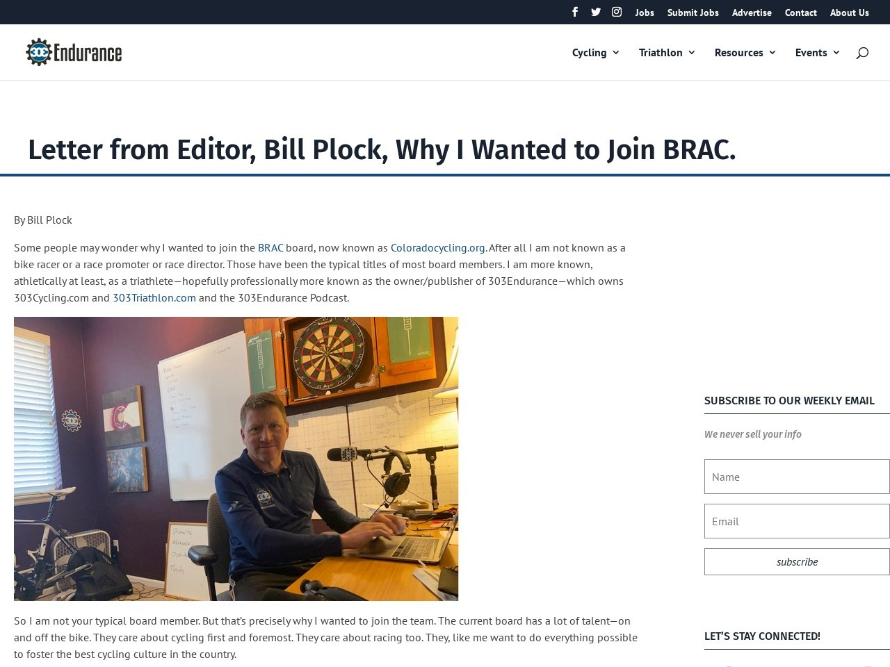 Letter from Editor, Bill Plock, Why I Wanted to Join BRAC.