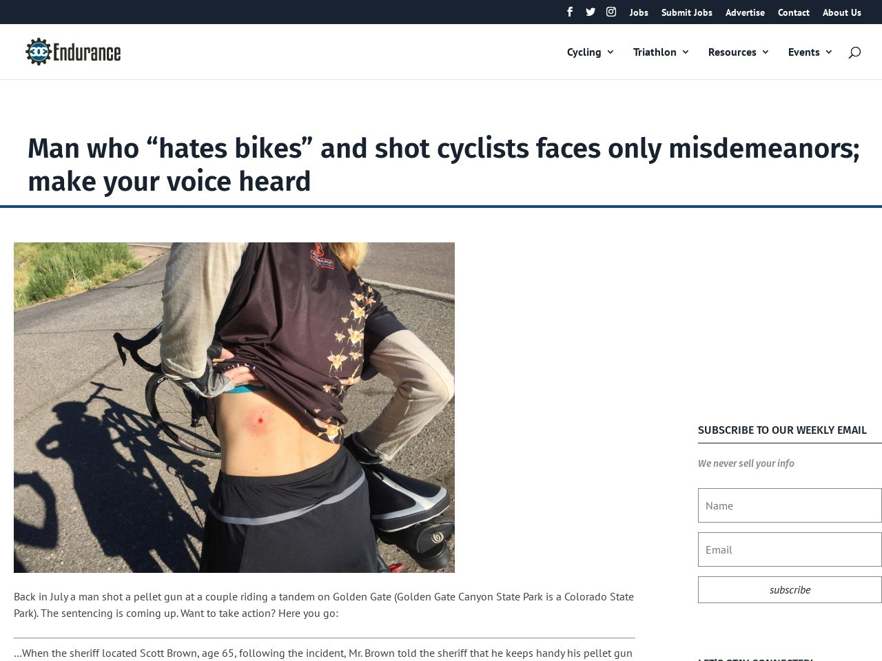 "Man who ""hates bikes"" and shot cyclists faces only misdemeanors; make your voice heard"
