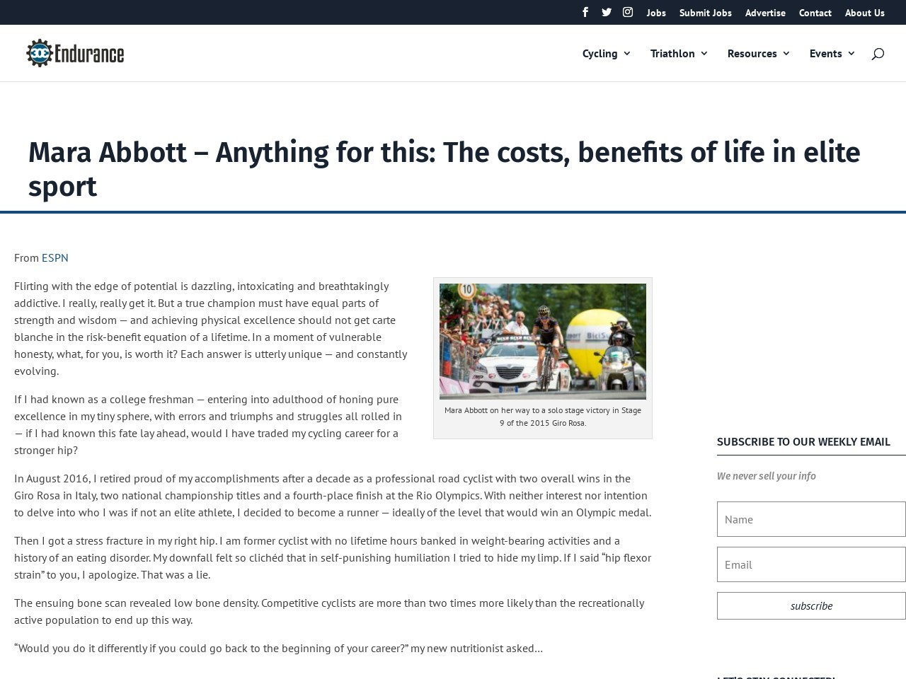 Mara Abbott – Anything for this: The costs, benefits of life in elite sport