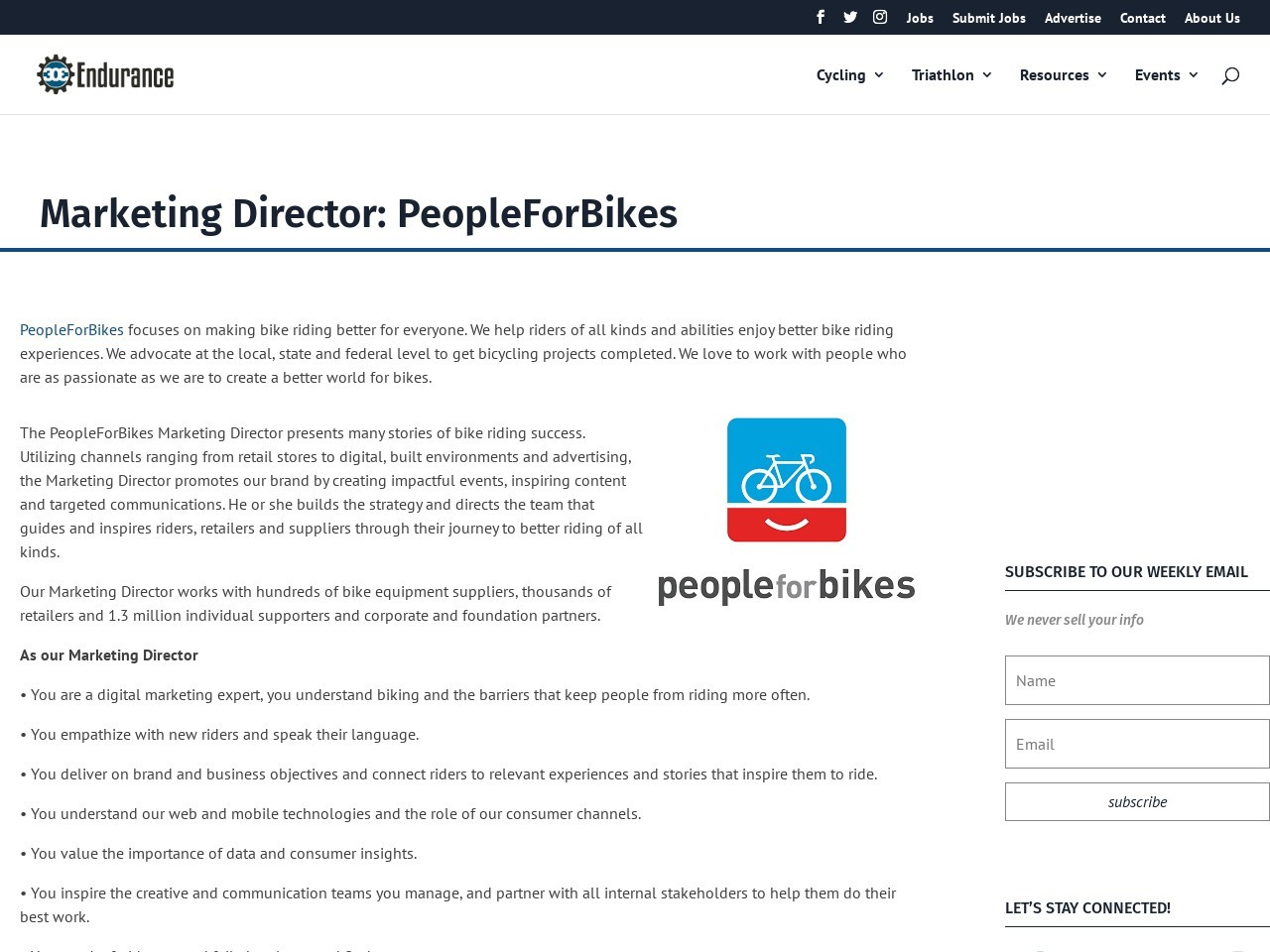 Marketing Director: PeopleForBikes