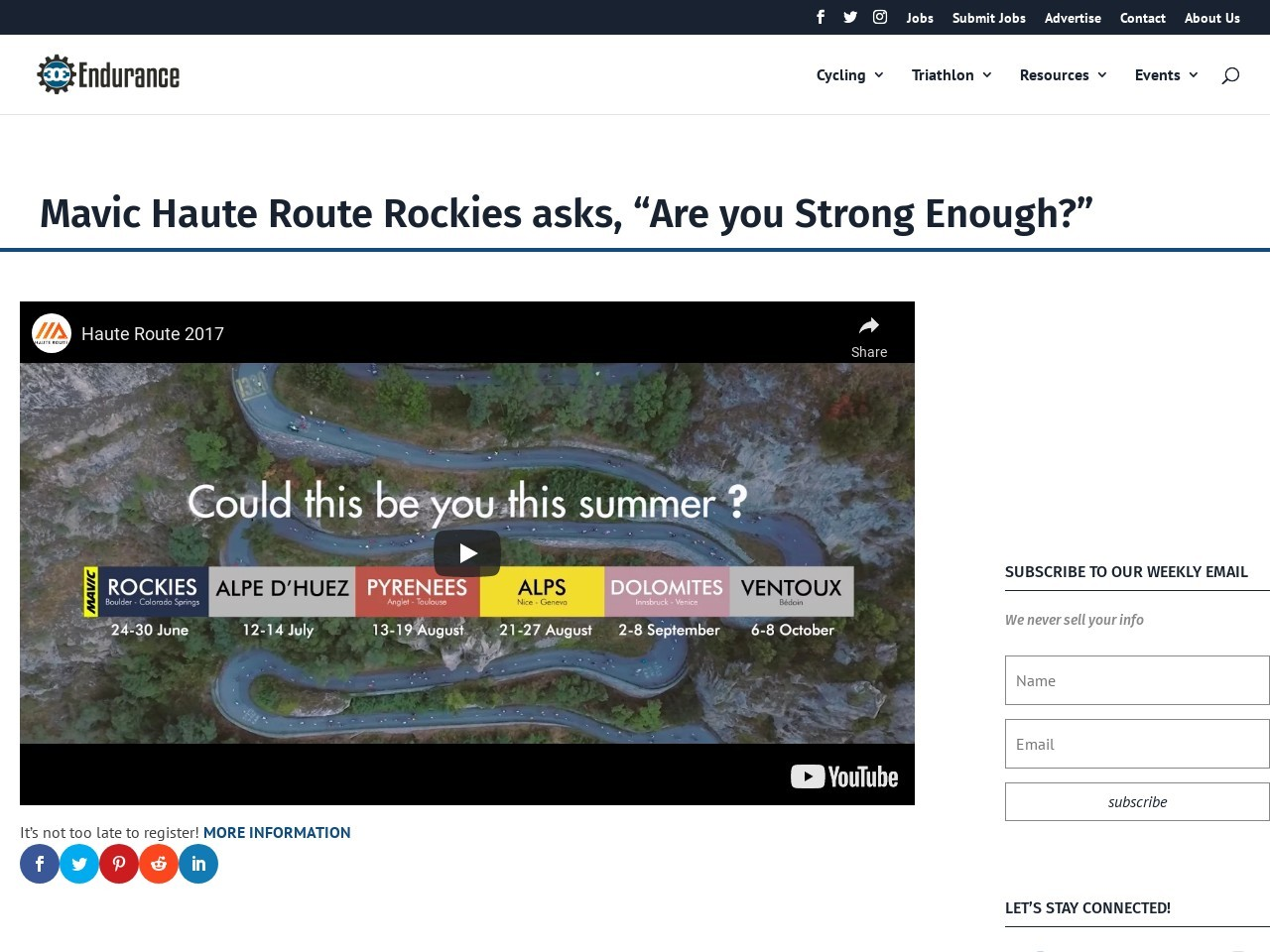 "Mavic Haute Route Rockies asks, ""Are you Strong Enough?"""