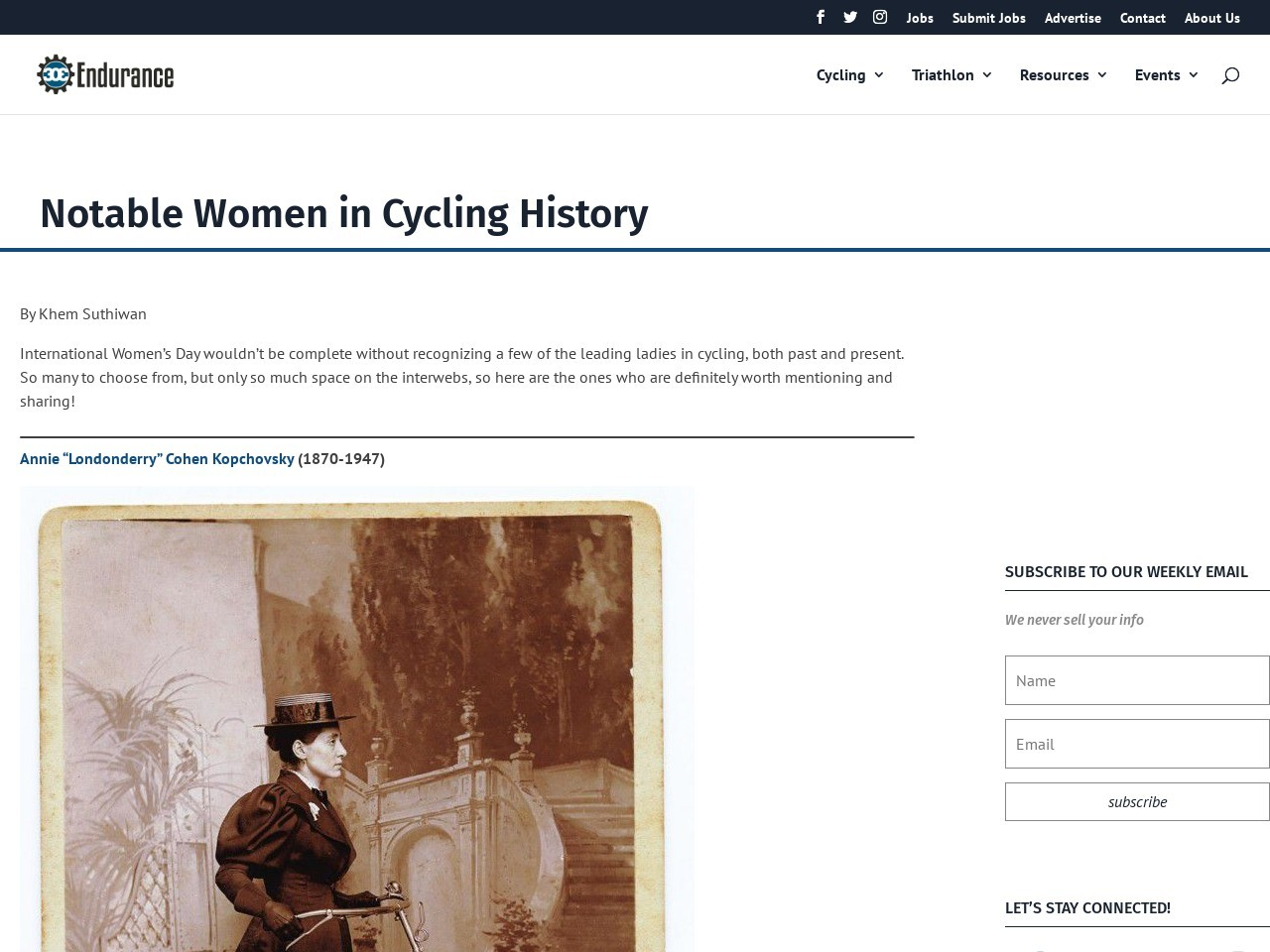 Notable Women in Cycling History