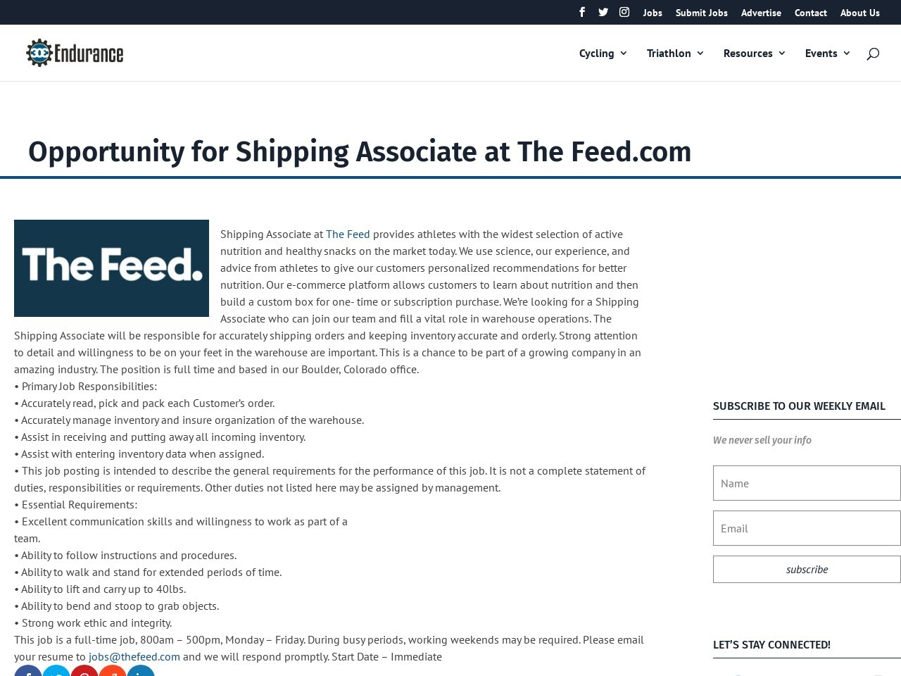 Opportunity for Shipping Associate at The Feed.com