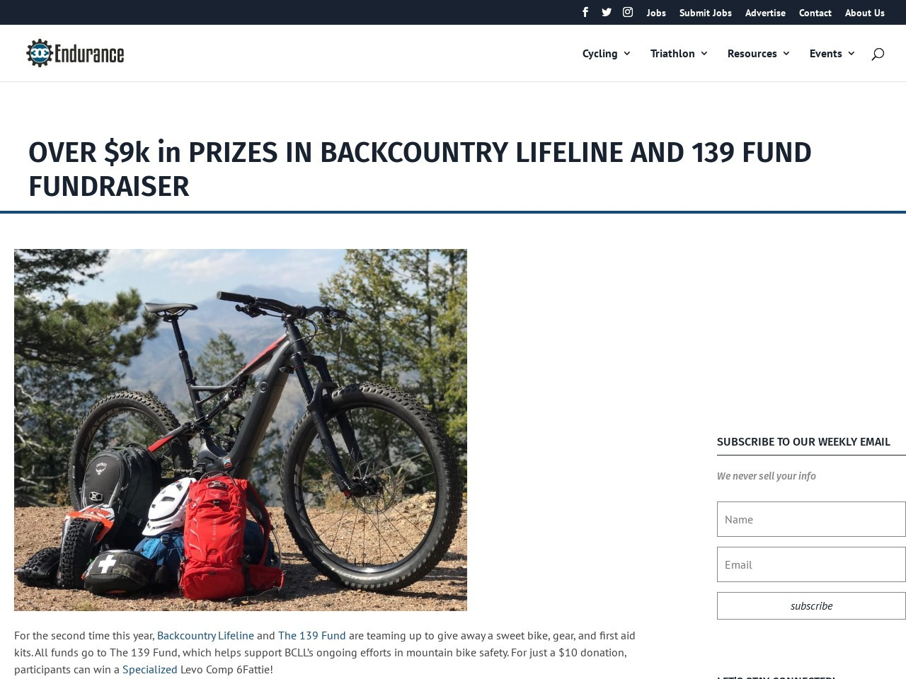 OVER $9k in PRIZES IN BACKCOUNTRY LIFELINE AND 139 FUND FUNDRAISER