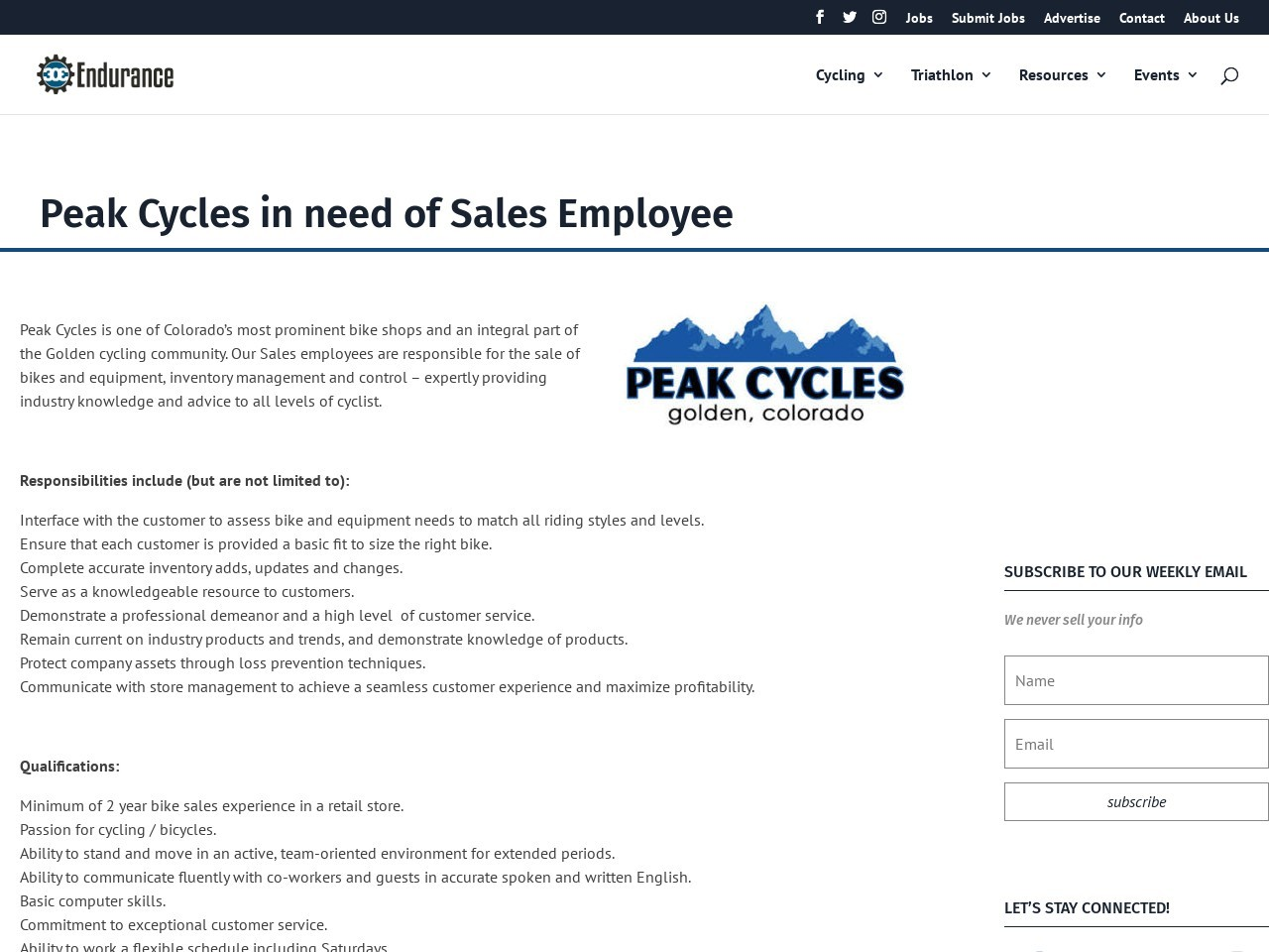 Peak Cycles in need of Sales Employee