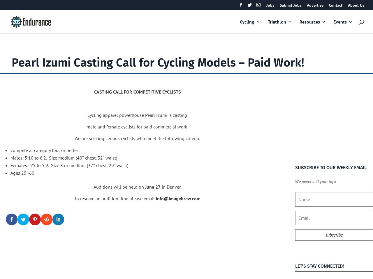 Pearl Izumi Casting Call for Cycling Models – Paid Work!