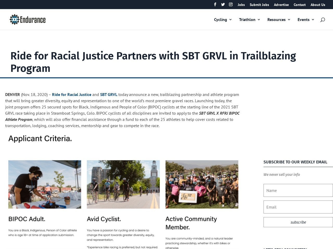 Ride for Racial Justice Partners with SBT GRVL in Trailblazing Program