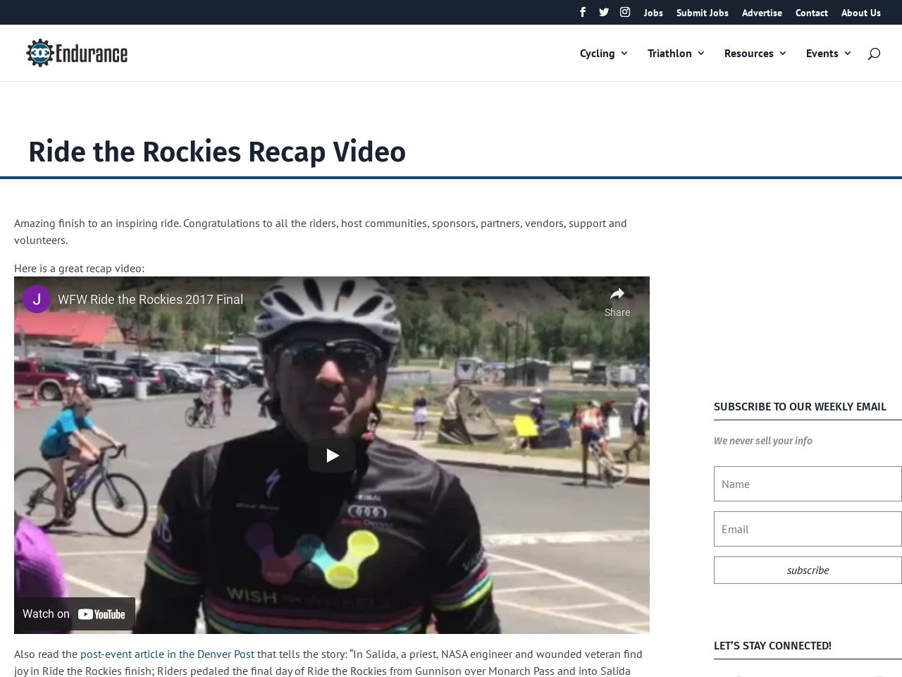 Ride the Rockies Recap Video