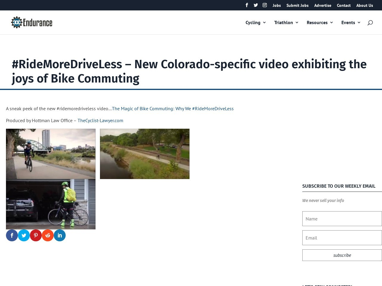 #RideMoreDriveLess – New Colorado-specific video exhibiting the joys of Bike Commuting