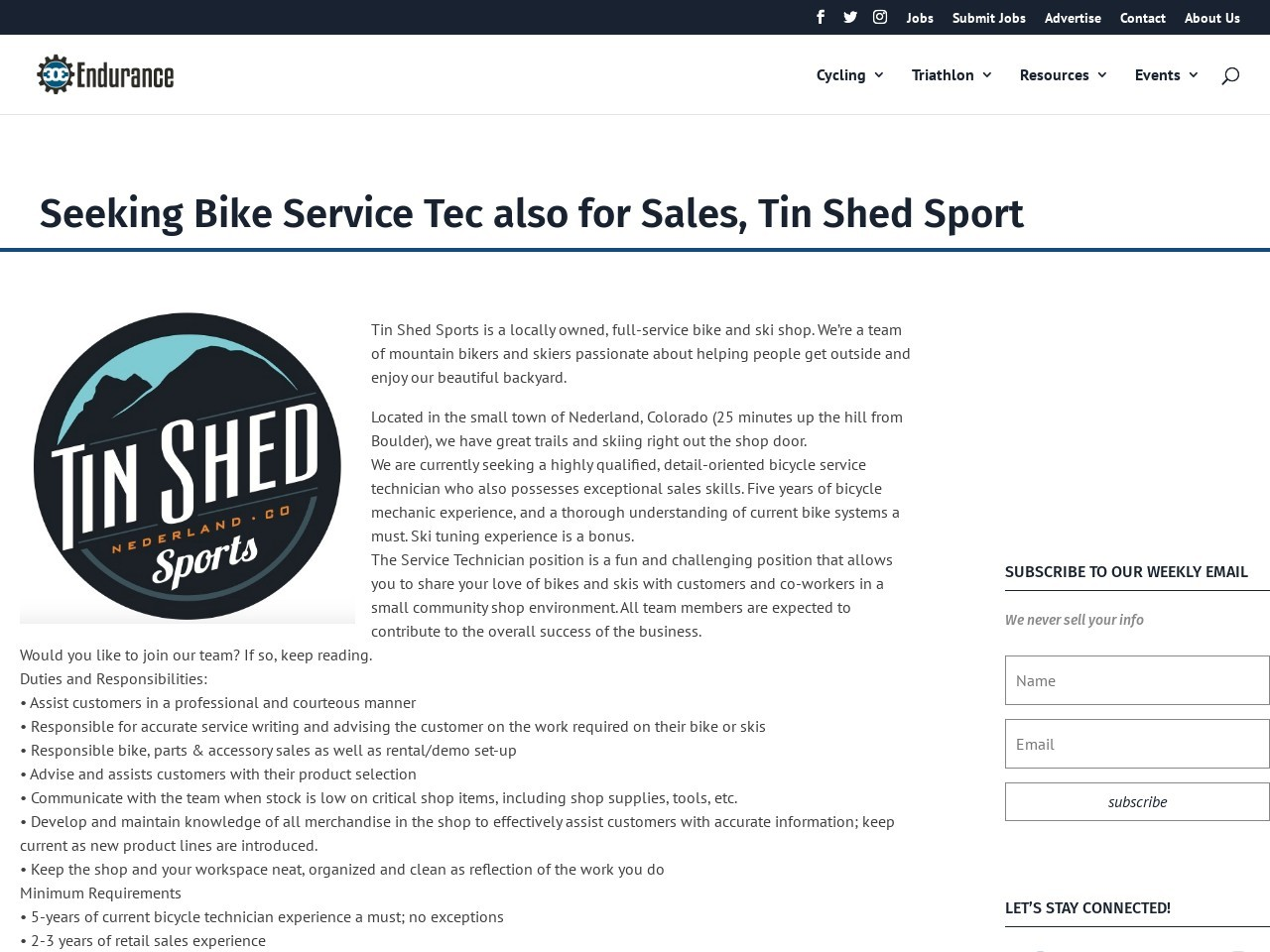 Seeking Bike Service Tec also for Sales, Tin Shed Sport
