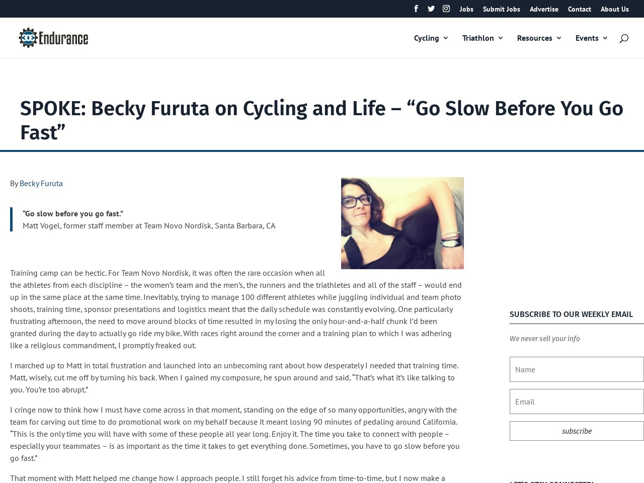 "SPOKE: Becky Furuta on Cycling and Life – ""Go Slow Before You Go Fast"""