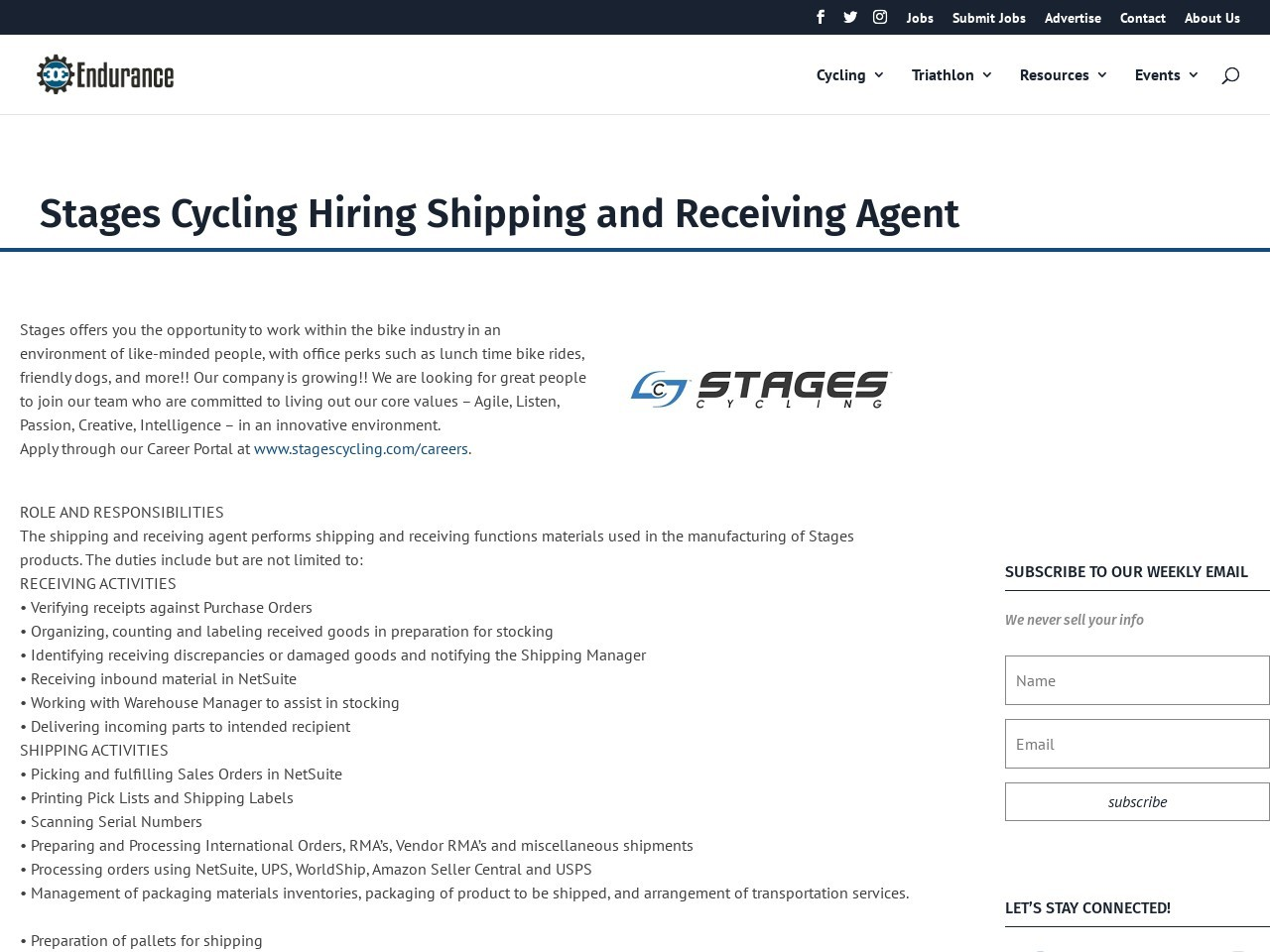 Stages Cycling Hiring Shipping and Receiving Agent