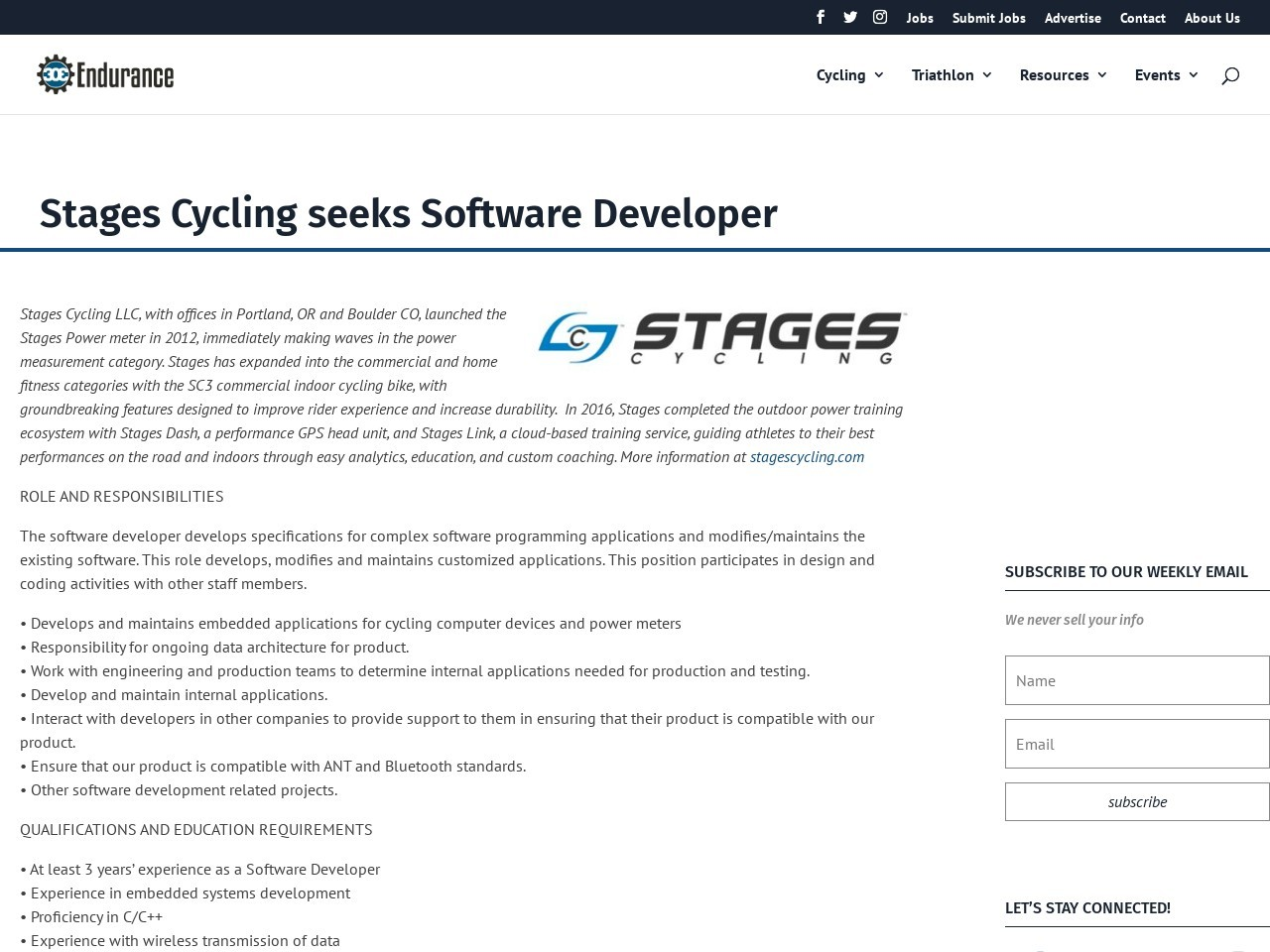 Stages Cycling seeks Software Developer