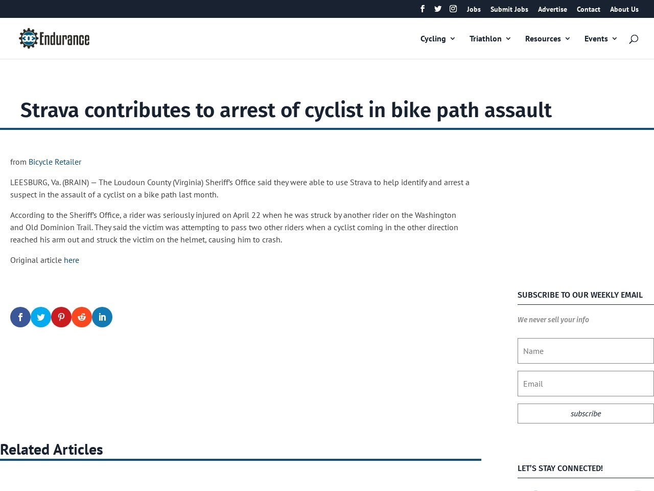 Strava contributes to arrest of cyclist in bike path assault