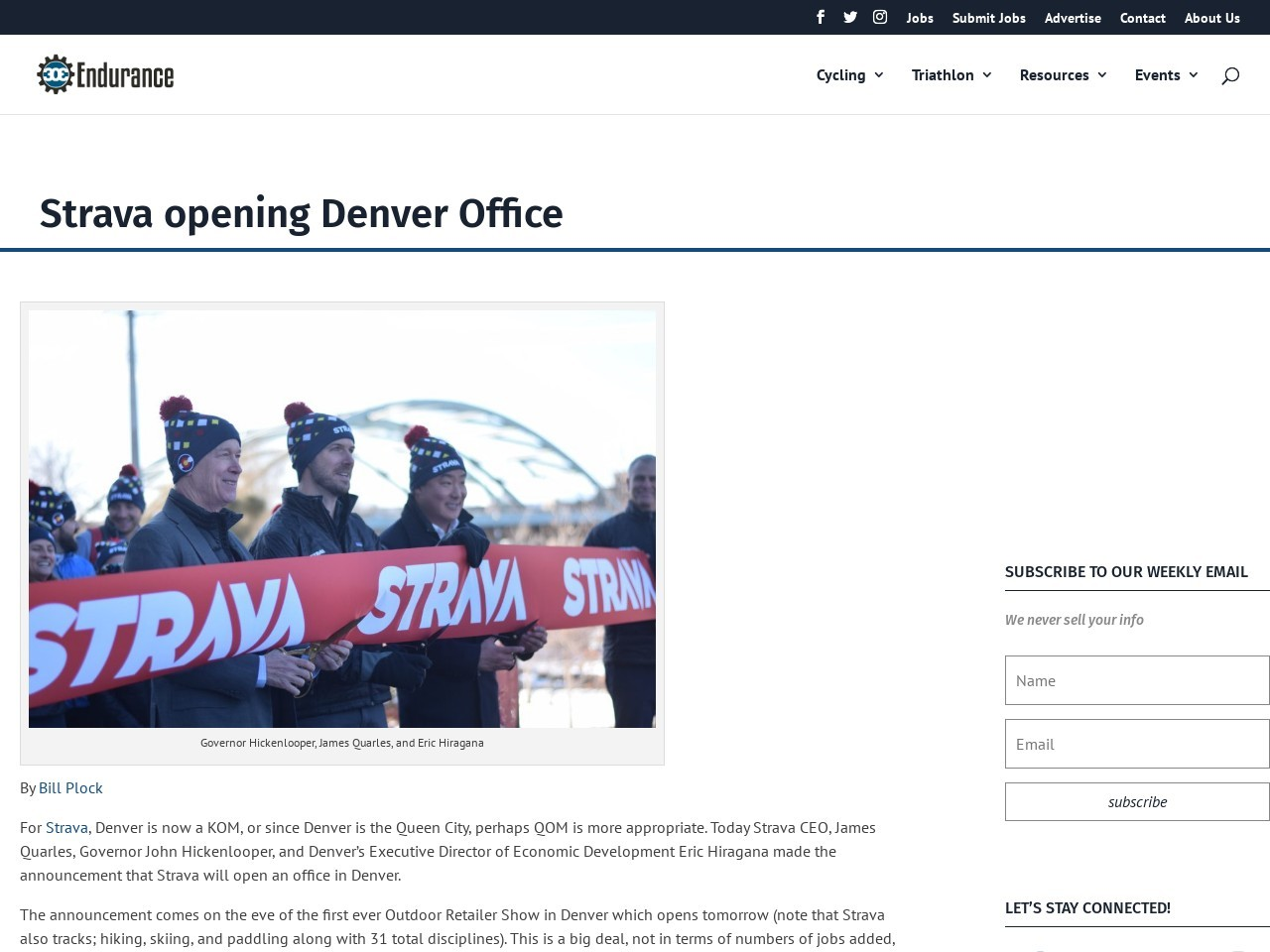 Strava opening Denver Office