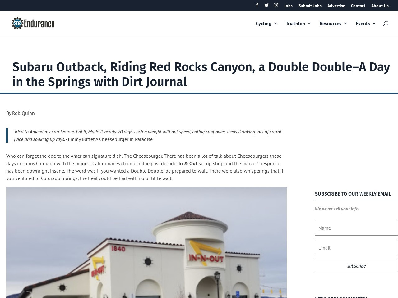 Subaru Outback, Riding Red Rocks Canyon, a Double Double–A Day in the Springs with Dirt Journal