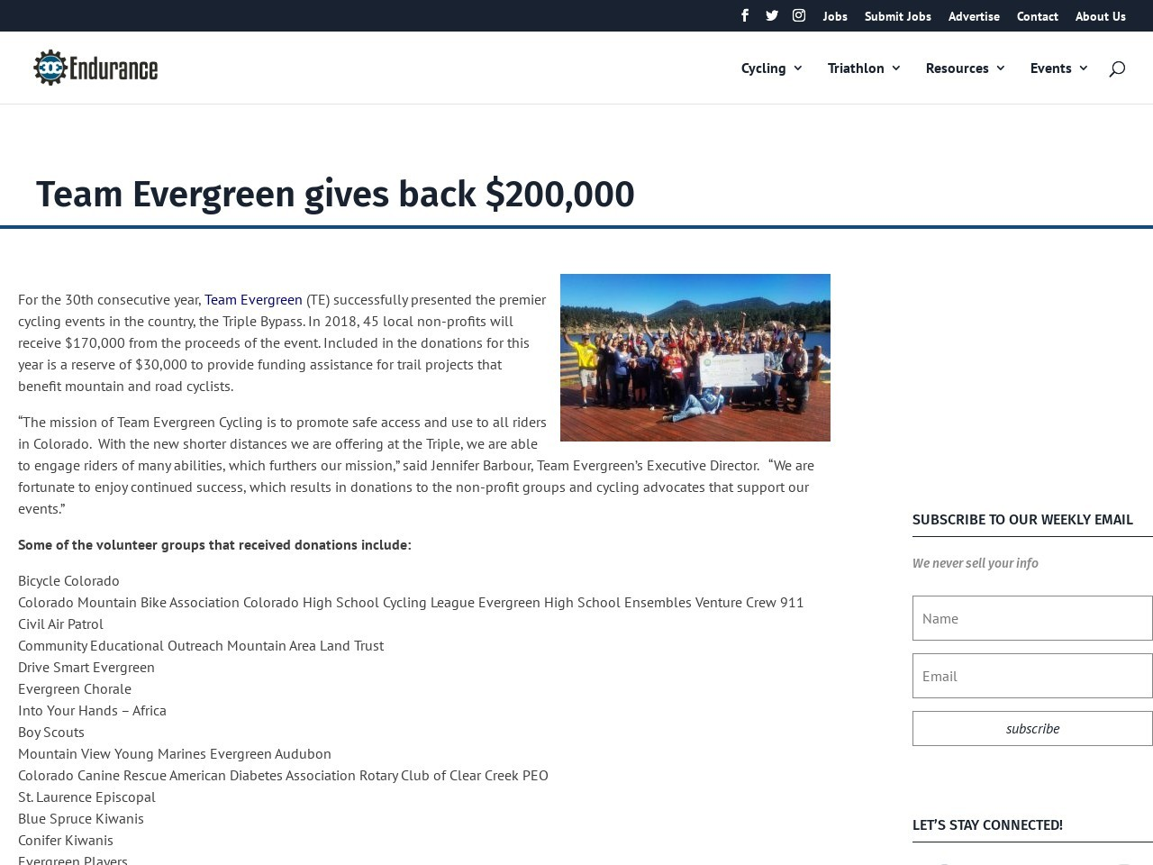Team Evergreen gives back $200,000