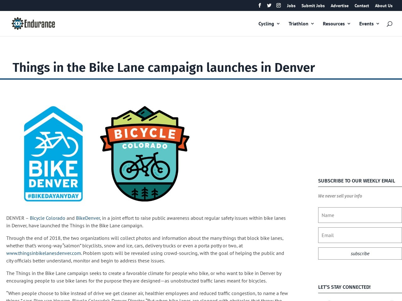Things in the Bike Lane campaign launches in Denver