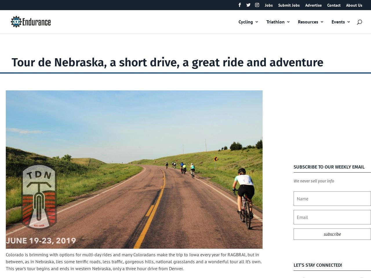 Tour de Nebraska, a short drive, a great ride and adventure