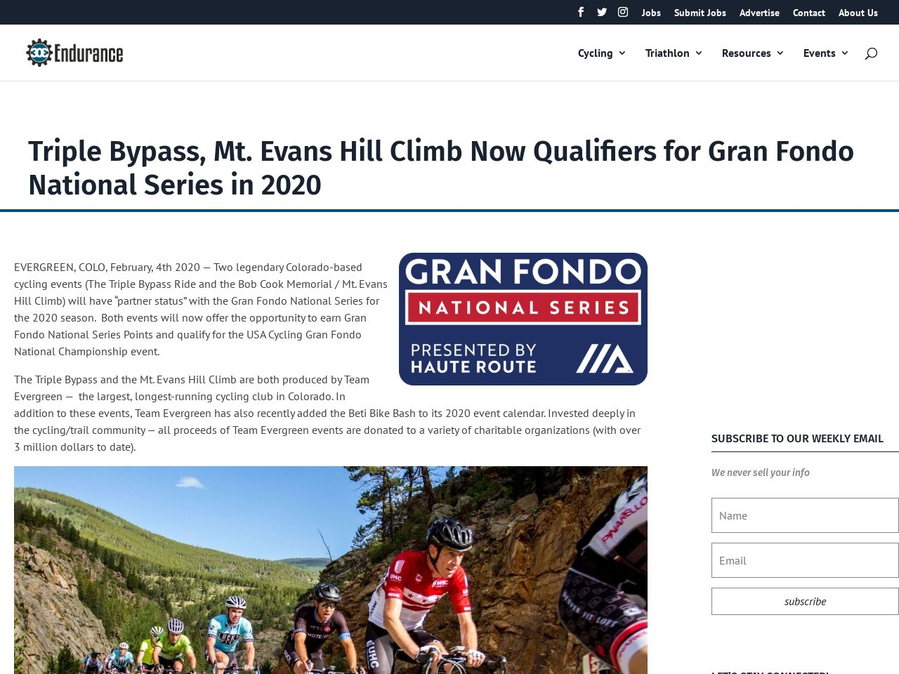 Triple Bypass, Mt. Evans Hill Climb Now Qualifiers for Gran Fondo National Series in 2020