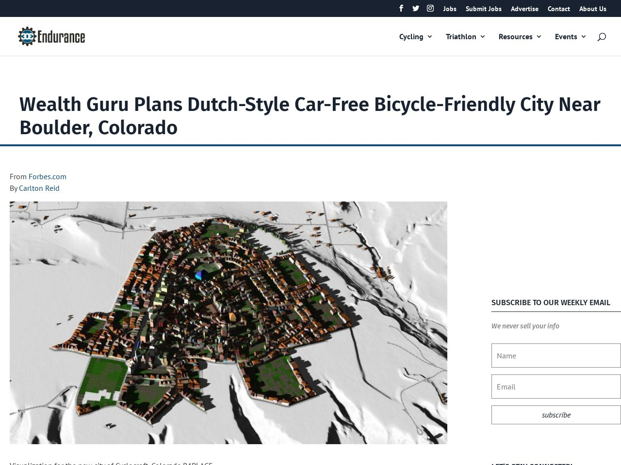 Wealth Guru Plans Dutch-Style Car-Free Bicycle-Friendly City Near Boulder, Colorado