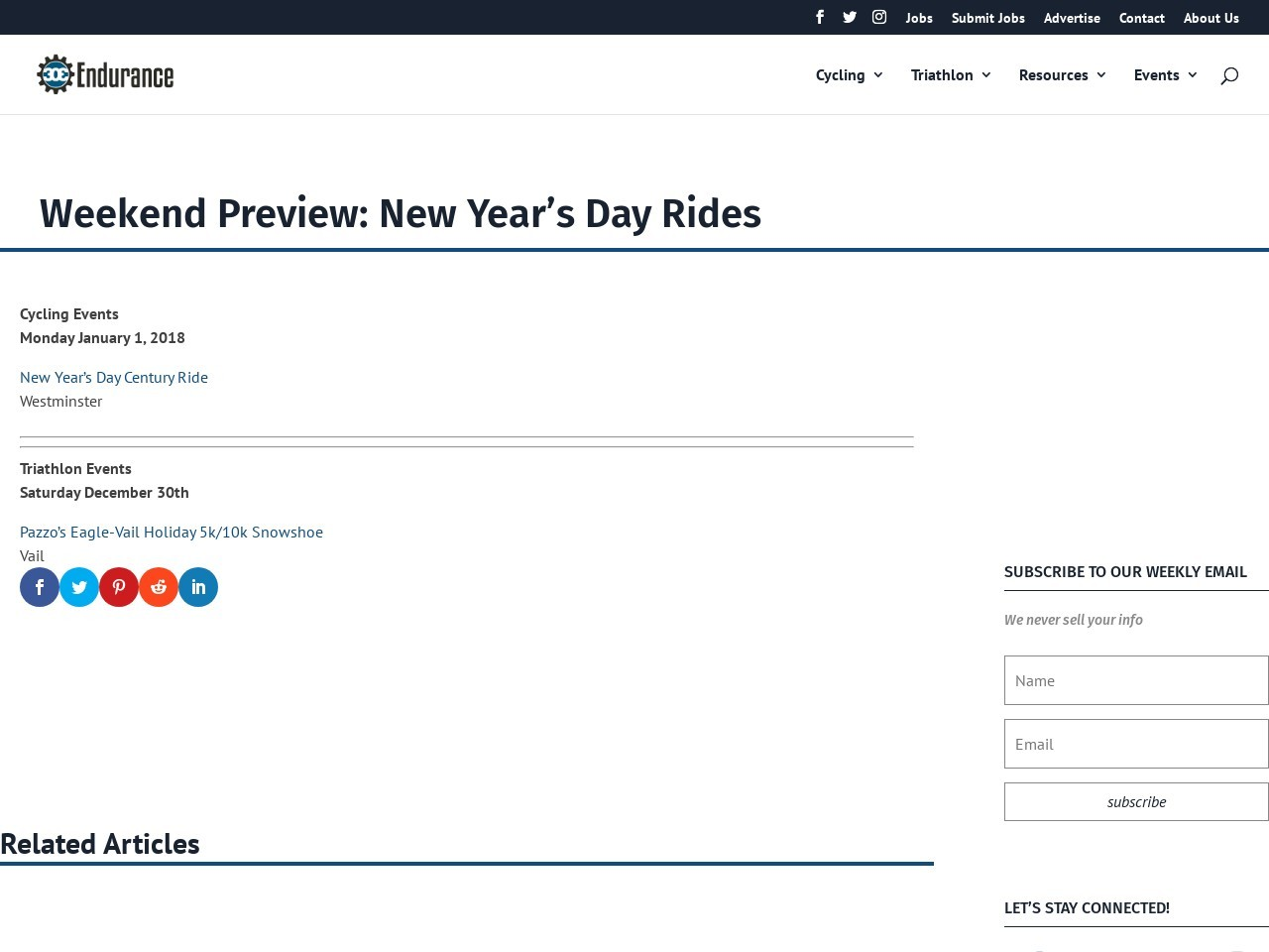 Weekend Preview:  New Year's Day Rides