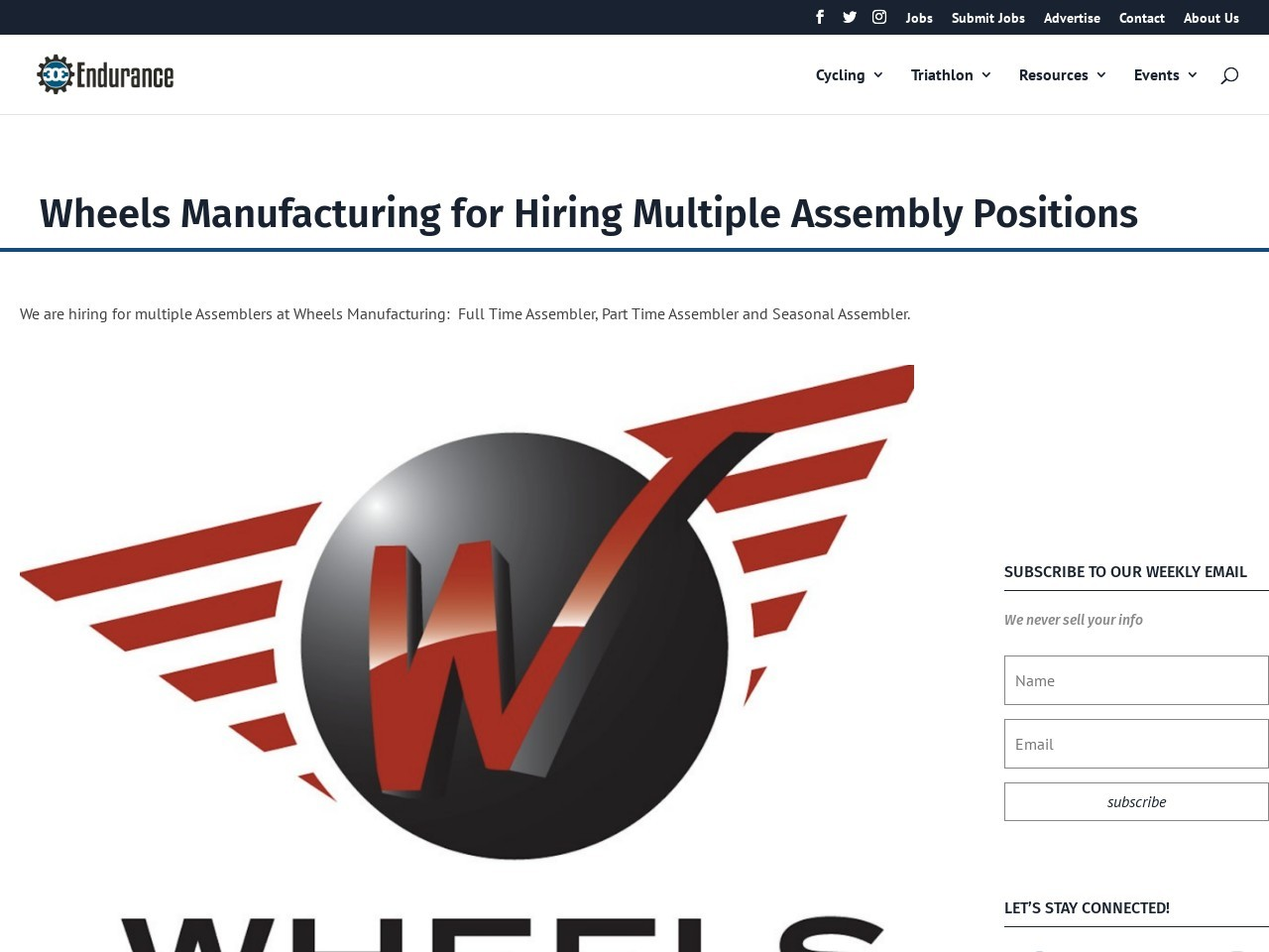 Wheels Manufacturing for Hiring Multiple Assembly Positions