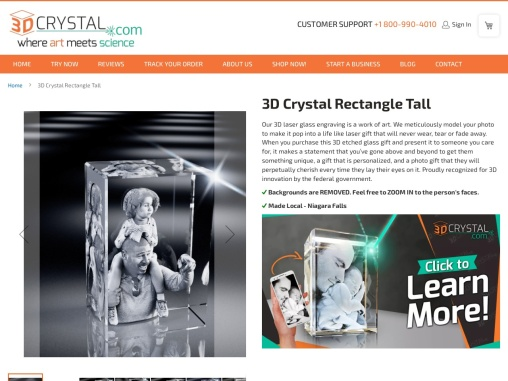 3D Crystal Rectangle Tall | 3d crystals from photos