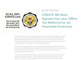 CREATE Bill Now Signed into Law, Offers Tax Reforms for an Improved Economy