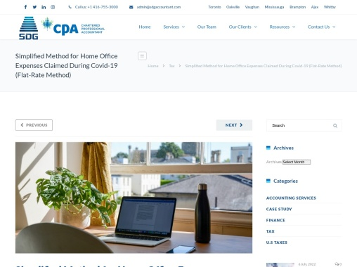 Simplified Method for Home Office Expenses Claimed During Covid-19