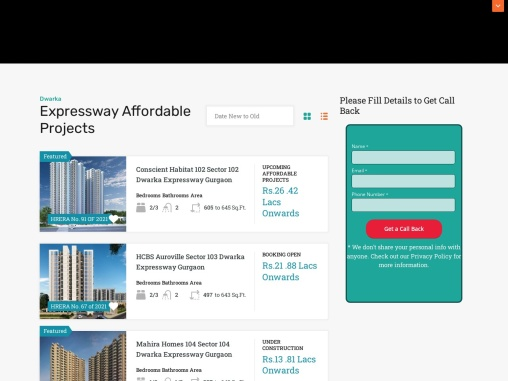 Dwarka Expressway Affordable Housing Projects