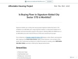 Is Buying Floor in Signature Global City Sector 37D is Worthful?
