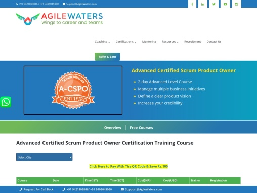 Advanced Certified Scrum Product Owner (A-CSPO) Certification Training
