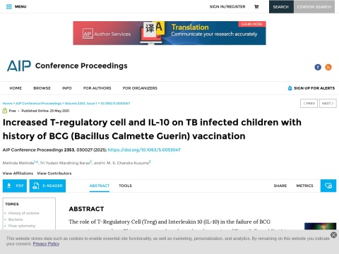 Increased T-regulatory cell and IL-10 on TB infected children with history of BCG (Bacillus Calmette Guerin) vaccination