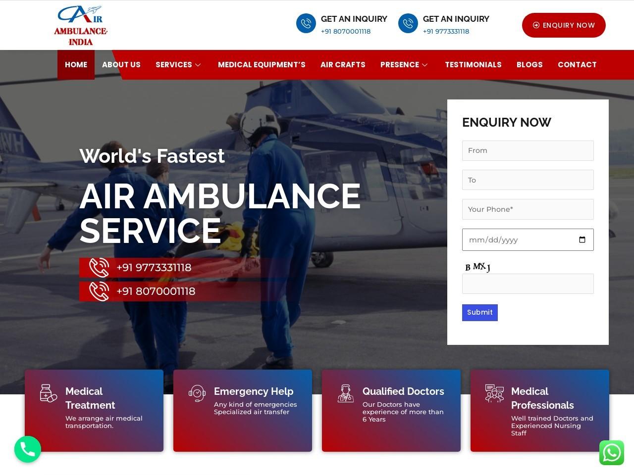 Low Cost Air Ambulance Services in Kolkata