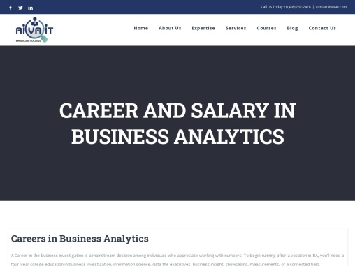 CAREER AND SALARY IN BUSINESS ANALYTICS