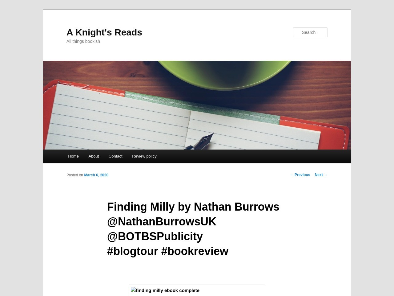 Finding Milly by Nathan Burrows @NathanBurrowsUK @BOTBSPublicity #blogtour #bookreview