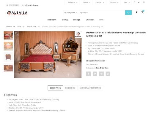 Ladder Stick Self Craftred Sissoo Wood High Gloss Bed & Dressing Set