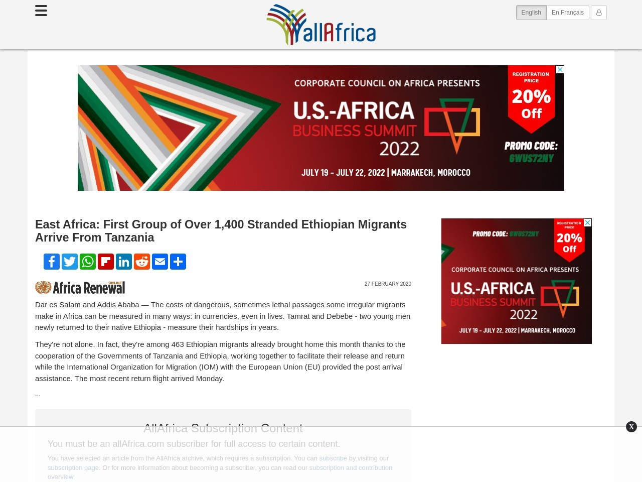 East Africa: First Group of Over 1,400 Stranded Ethiopian Migrants Arrive From Tanzania