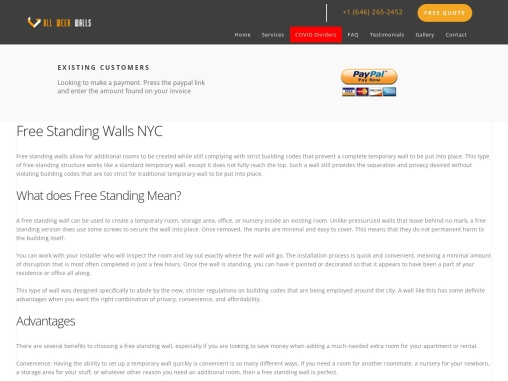 Free Standing Walls NYC New York Service Call +1(646) 265-2452