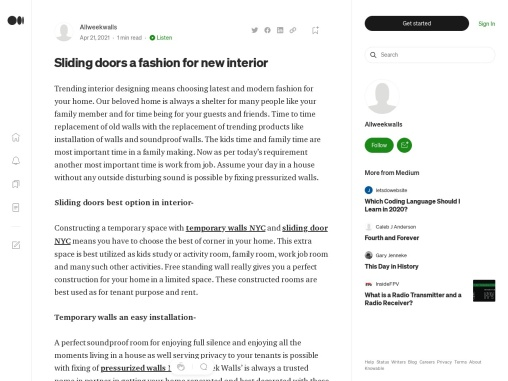 Sliding doors a fashion for new interior