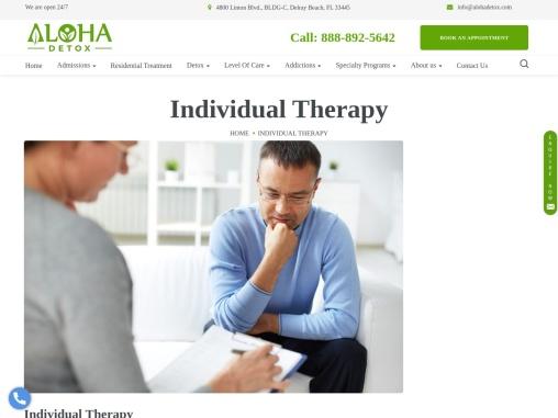 Individual Therapy | Individual Counseling | Individual Psychotherapy | Aloha Detox