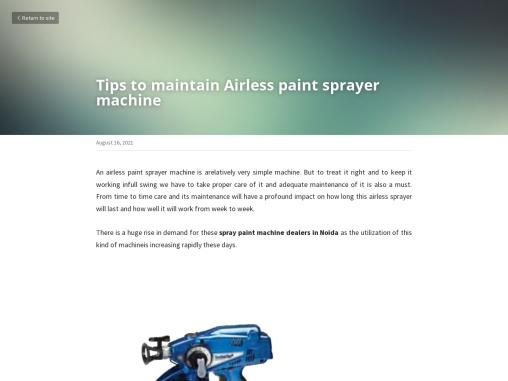Tips to maintain Airless paint sprayer machine